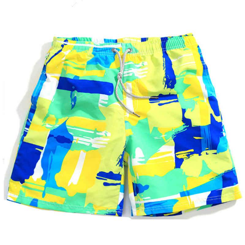 الملونة السباحة الأمواج للأولاد الرجال النساء شاطئ اللعب 3 شخصا يرتدي نفس زوجين السباحة boardshorts زائد الحجم السباحة