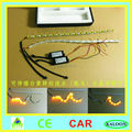 50cm crystal extendable led flexible drl with flow turn signal 16leds white amber daytime running light headlight for car