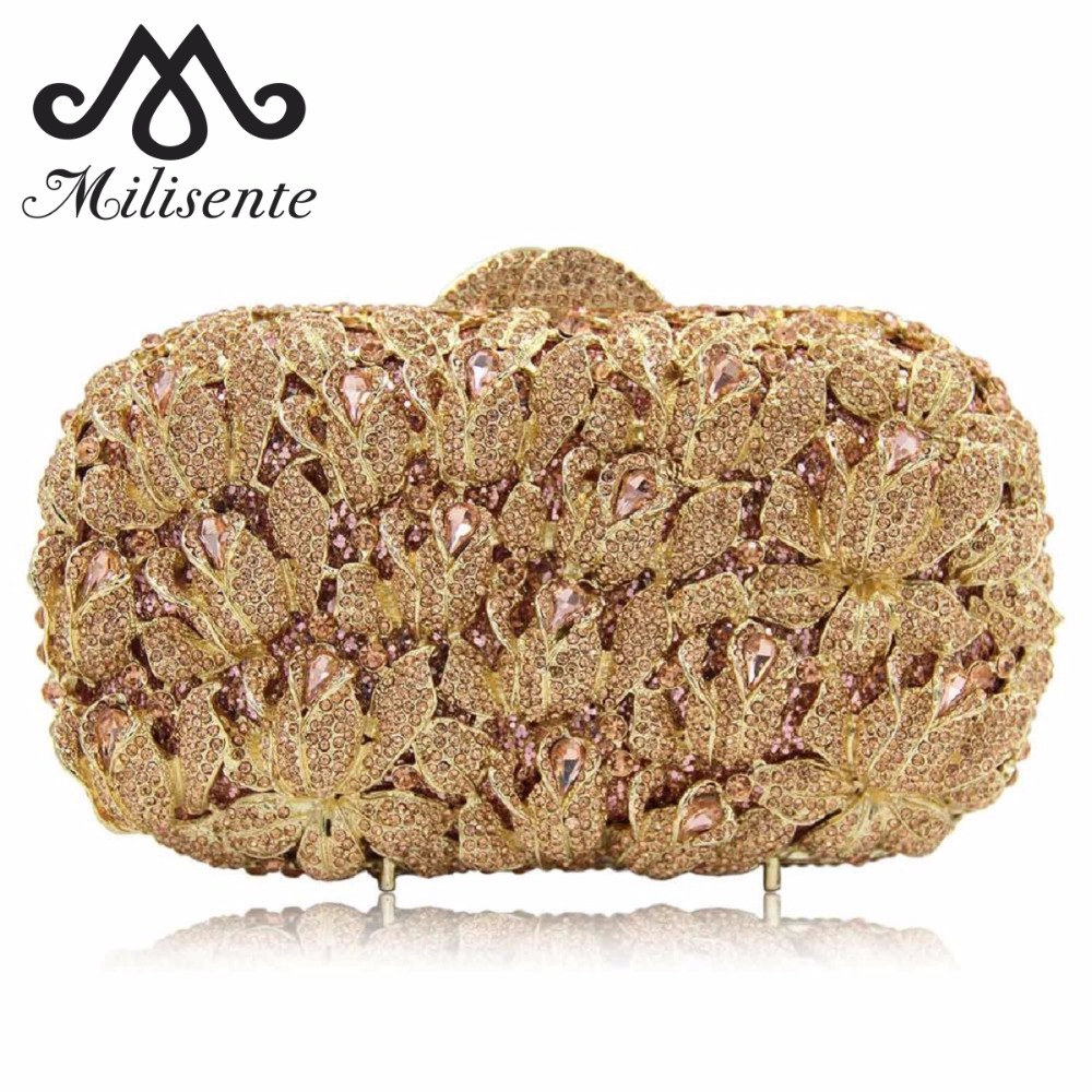 Milisente New Women Luxury Flower Crystal Clutch Evening Bag Ladies Gold Wedding Purses Dinner Party Clutches natassie 2018 new women clutch luxury evening bags ladies crystal wedding purses dinner party bag