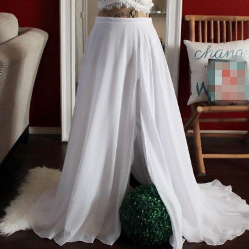 Nouveau Design jupe en mousseline de soie blanche fermeture à glissière taille une ligne étage longueur pleine jupe avant fente personnalisée longues jupes Maxi femmes