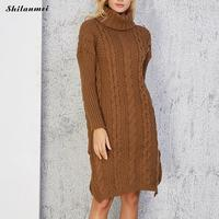 Long Knitted Sweater Dress Women'S Turtleneck Long Sleeve Pullover Winter Warm Casual Side Slit Knit Sweater Dresses Pull Femme
