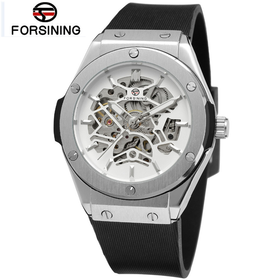 где купить FORSINING Men's Skeleton White/Black Dial Automatic Mechanical Wrist Watch Montre Homme Cool Free Ship по лучшей цене