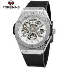 Forsining montre homme esqueleto de los hombres blanco/negro dial reloj mecánico automático fresco envío gratis