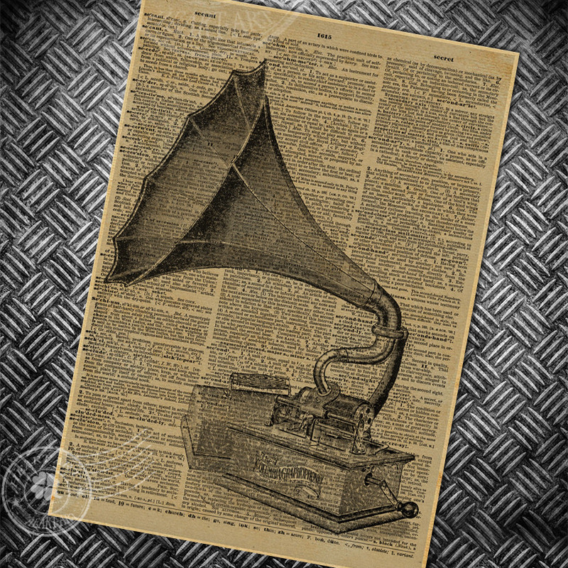 phonograph abstract newspaper page vintage poster retro old painting bar club living room house wall art picture photo 42x30cm Сумка