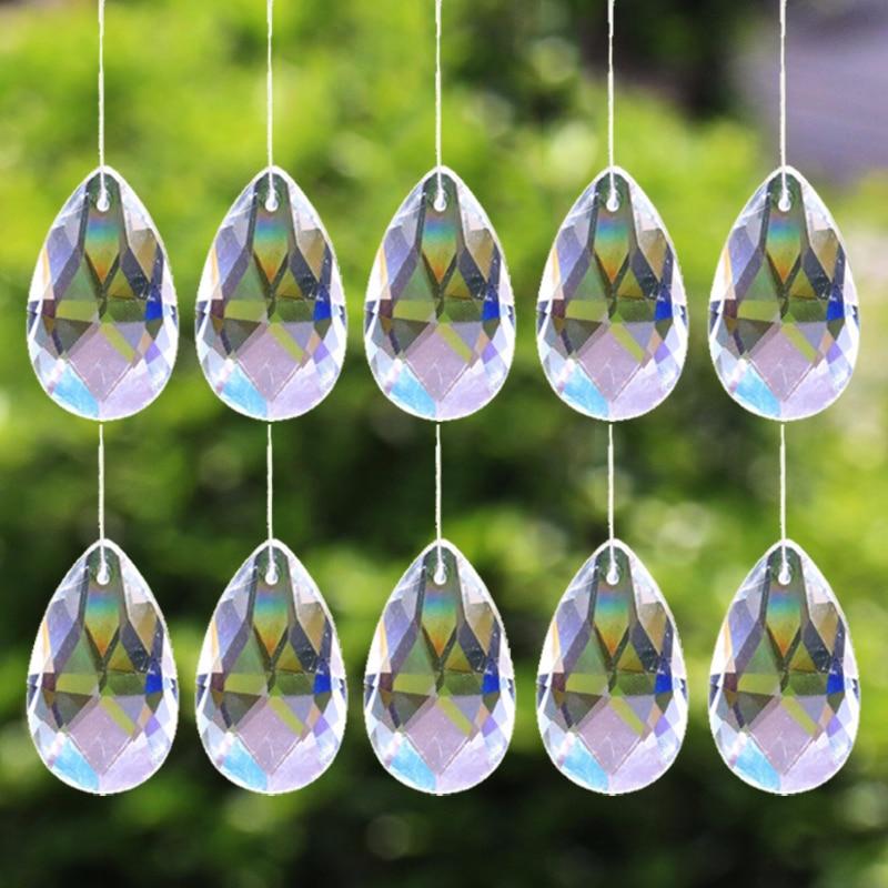 10Pcs Tear Drop 28mm Clear Glass Crystal Prism DIY Pendant Chandelier Jewelry Suncatcher Spacer Faceted
