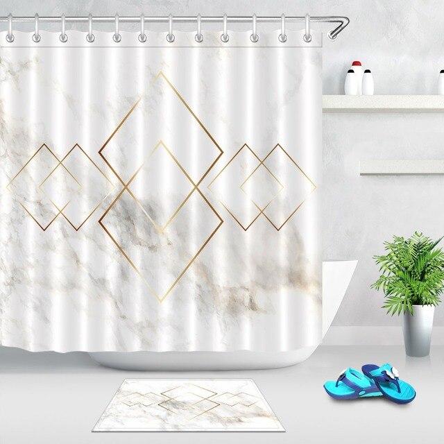 LB Oro Geometria Rombo & Marble Texture Nordic Tenda Della Doccia con Zerbino Ba
