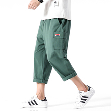 Solid Color Calf-Length Pants Safari Style Multi-Pockets Mens Elastic Waist Straight
