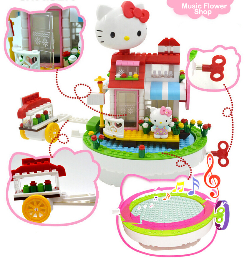 Toys For Girl Pink Color Hello Kitty Doll House Block Rotation Music Box Cute Best For Christmas Gift Baby Room Decoration new 27cm no base anime card captor sakura mini figures kinomoto sakura daidouji tomoyo pvc action figures toys cardcaptor