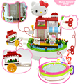 Toys For Girl Pink Color Hello Kitty Doll House Block Rotation Music Box Cute Best For Christmas Gift Baby Room Decoration