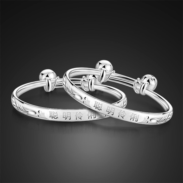 Silver Color Bracelets Bangles Boys And S Fashion Stretching Bangle For Baby Gift Bracelet