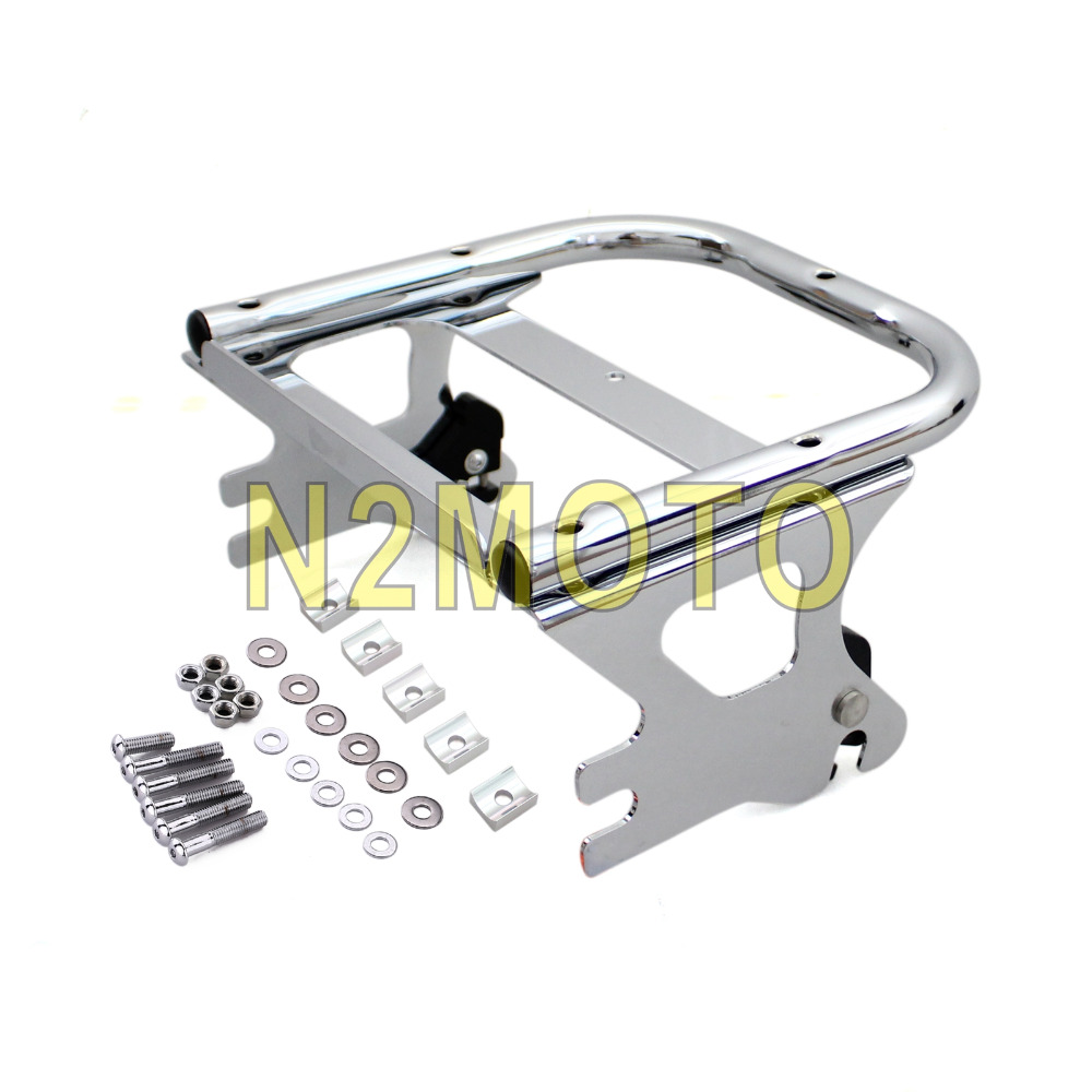 Black Detachable Two Up Tour Pack Rear Luggage Rack Kit for Harley Touring Custom Road King