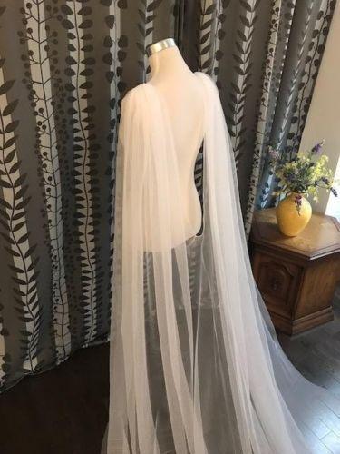 Plain Wedding Cape Veil Bridal Shoulder Veil White/Ivory Tulle Long Cape Cloak Shawl White/ Ivory