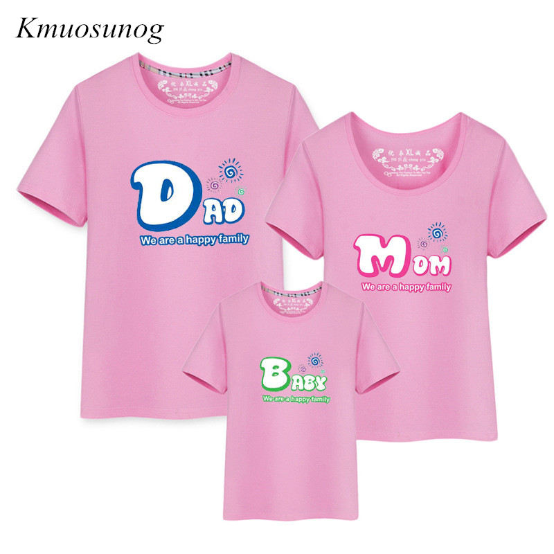 Family Look Pink Dad Mom Print Couple T Shirts Summer Family Matching Clothes Father Mothe