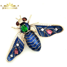 Vintage Designer Royal Blue Enameled Honey Bee Brooches Gold Tone Green Pink CZ Stones Deco Bug Pins Broach Women Insect Jewelry fabulous short tassel drops double yellow bird brooches silver tone micro pave cz green eyes two love birds pins for girlfriend