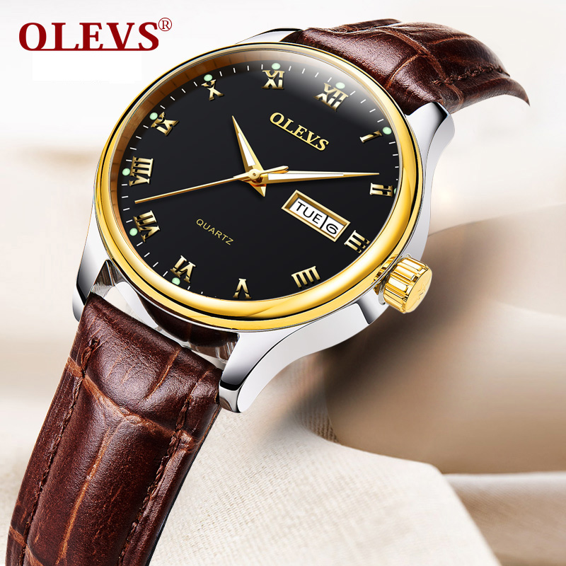 OLEVS Dress Quartz Watches For Woman Small Dial Waterproof Ladies Business Watch Clock Leather/Steel Belt Women Wristwatch L5568 quartz watch with small diamond dots indicate leather watch band hearts pattern dial for women