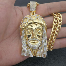Hip Hop Gold Color Stainless Steel Iced Out Bling Full Rhinestone Big Jesus Piece Head Pendants Necklaces for Men Jewelry