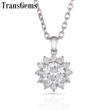 TransGems Sunflower 14K 585 White Gold Center 1ct 6.5mm F Color Moissanite Halo Pendant for Women with Accents