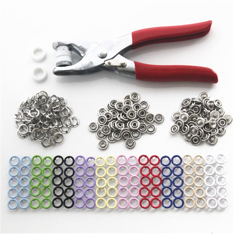 100 Sätze 10 Mix Farben 9,5mm Metall Prong Druckknöpfe Druckknöpfen Poppers Babyspielanzug Schnalle Schnapp + 1 stück Zange Werkzeug