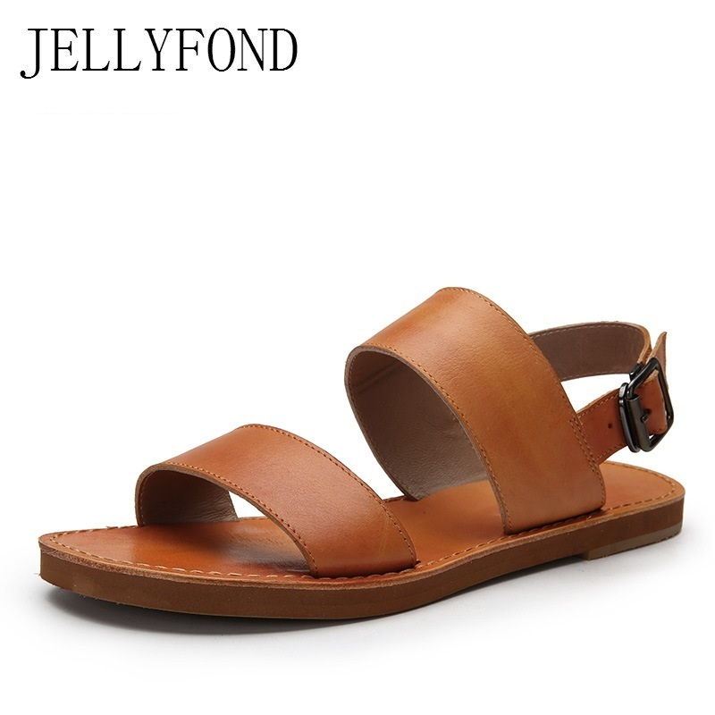 JELLYFOND Brand Genuine Leather Flat Sandals Women Peep Toe Slingback Gladiator Sandals 2018 Summer Soft Beach Shoes Woman jellyfond brand sandals women genuine leather summer shoes woman peep toe slingback platform wedge high heels gladiator sandals