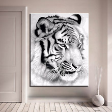 Artworks DIY Handpainted Oil Paint By Numbers Draw Coloring Pictures Black White Tiger On Modular Canvas Framed Wall Painting(China)