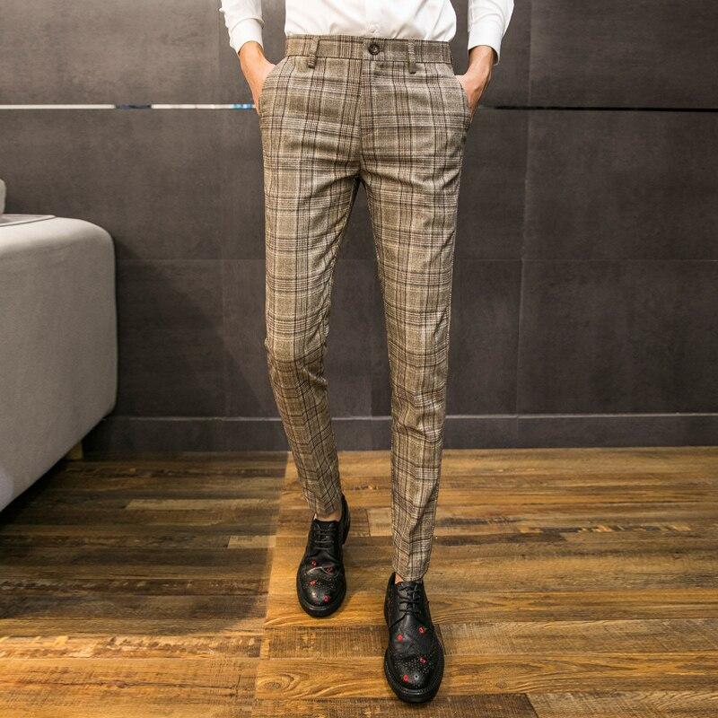 2018 осень новый тренд мужские повседневные брюки Корейская версия slim Мужская молодежная деловая Повседневная Англия плед ноги брюки