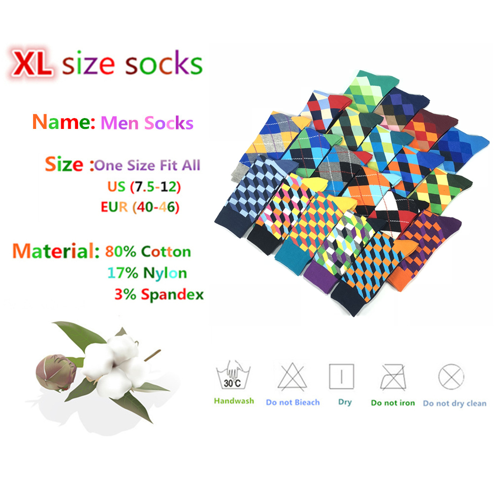 Hot Sale Casual Men Socks New Socks Autumn And Winter Plaid Colorful Retro Business Party Dress Cotton Socks Man