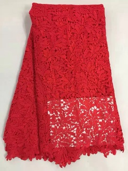 Nigerian laces Fabric 2019 African Cord Laces Fabrics High Quality,Nigerian Guipure Cord Lace Fabric For Wedding Dress AMZ616red