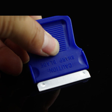 Free shipping 4.5*4.2cm car wrap tint tool squeegee Mini-Razor Blade Scraper blue for vinyl glue removing MX-170 whole sale
