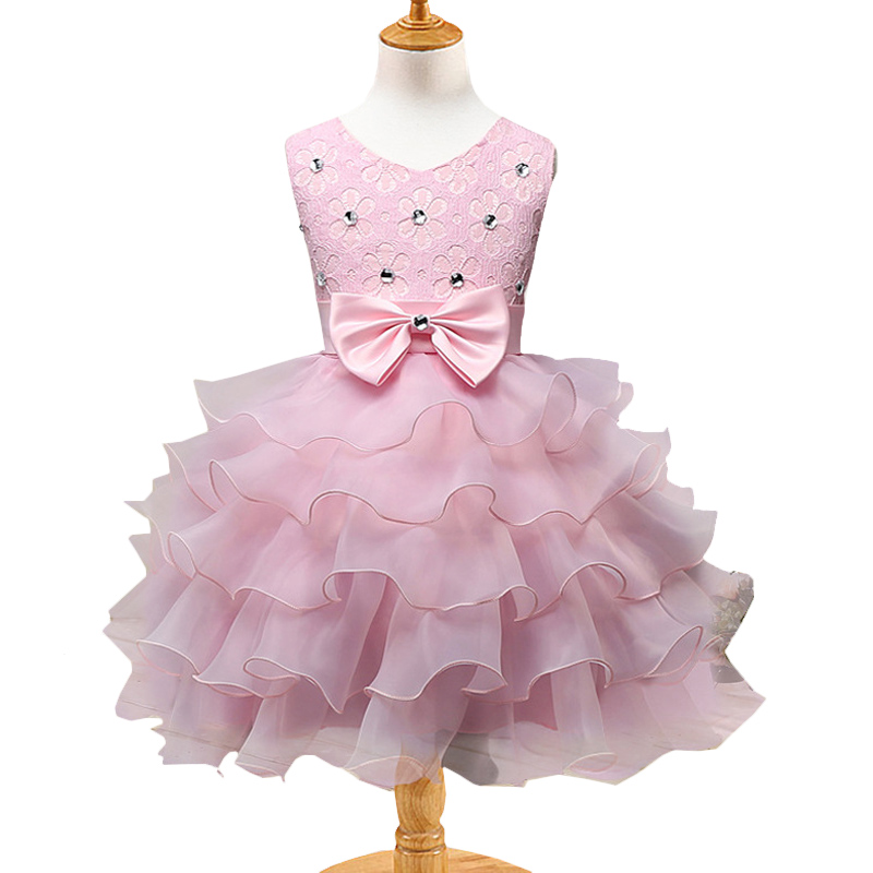 Baby Girls Big Bow Beaded Lace Evening Dress Kids Princess Wedding Party Dresses Toddlers Bridesmaid Gown Children Formal Attire new fashion embroidery flower big girls princess dress summer kids dresses for wedding and party baby girl lace dress cute bow