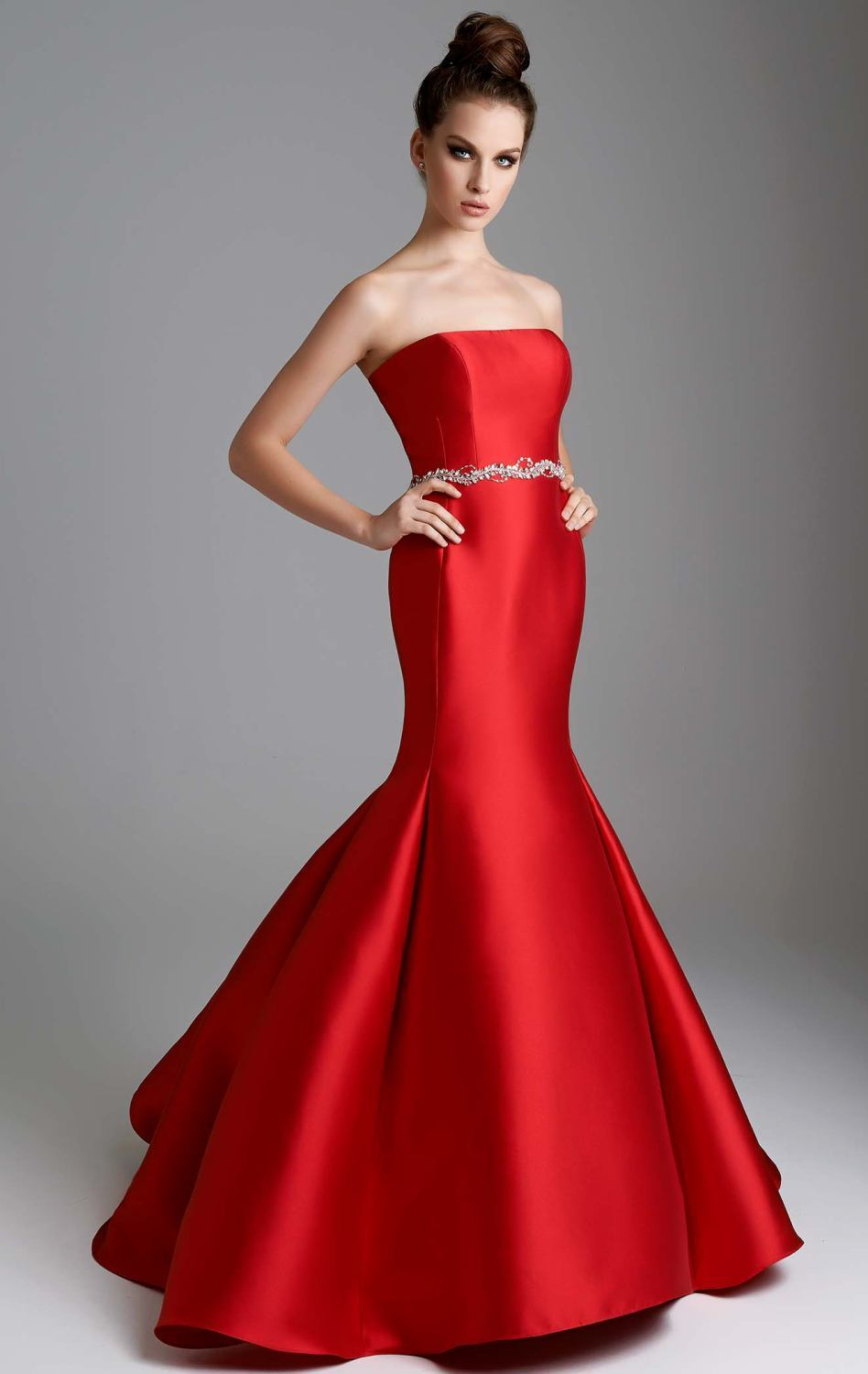 simple red long evening dresses 2017 strapless mermaid off shoulder ...