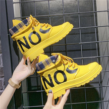 Sneakers women 2019 new short boots female autumn yellow Martin boots motorcycle women's single boot