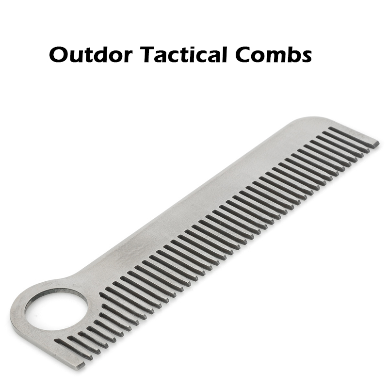 Outdoor EDC High Strength Stainless Steel Tactical Combs Head Comb Practical Can Be Anti Static Outdoor Travel Tools