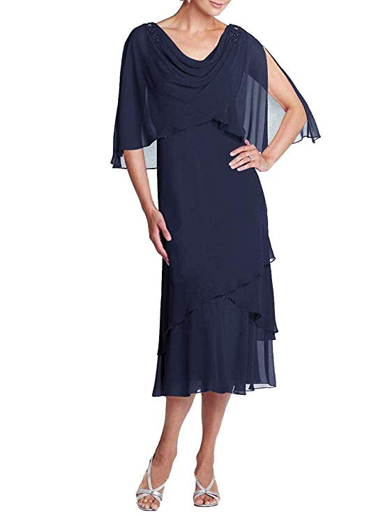 Knee Length Chiffon Mother of The Bride Dresses Evening Party Formal Dresses Dinner Grown Bride Mother