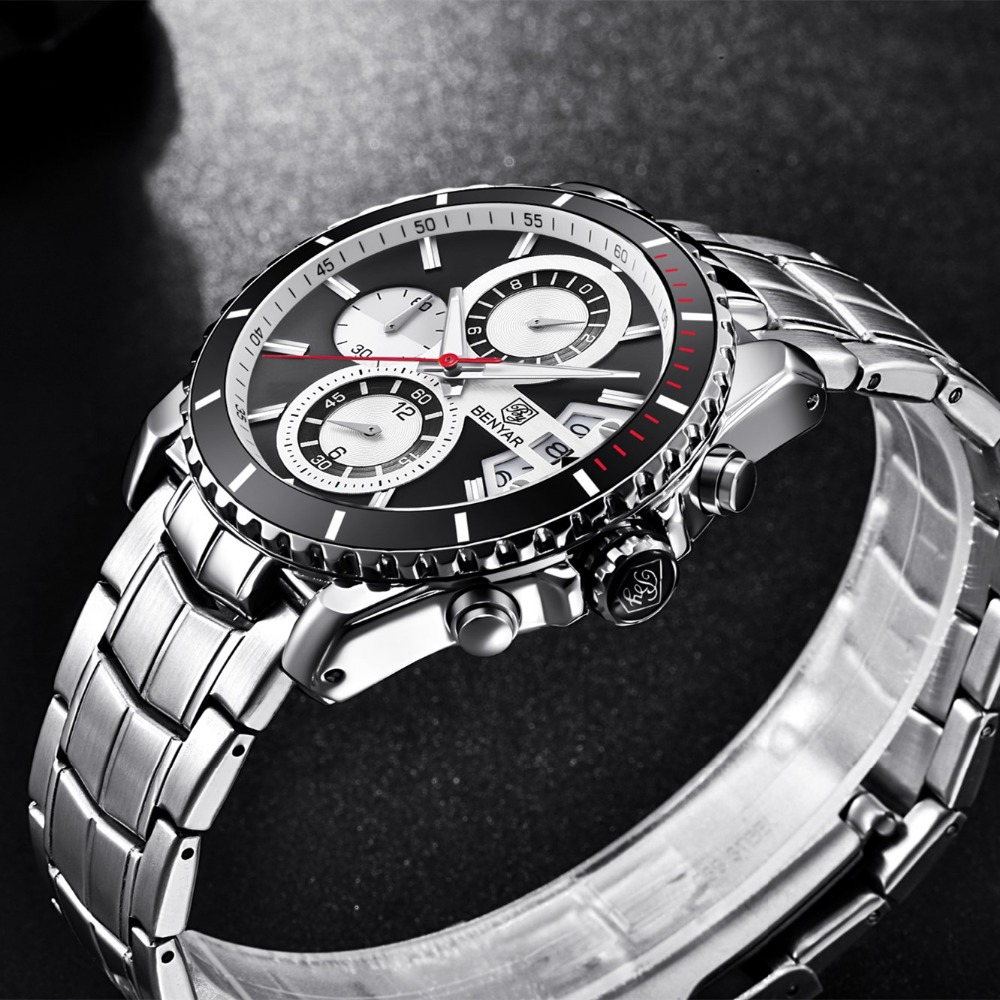 Top Brand Luxury BENYAR Stainless Steel Vattentät Chronograph Sport - Herrklockor - Foto 3