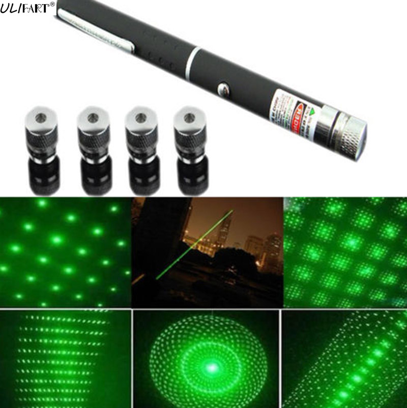 цена на ULIFART 1Pc 5 in 1 Green Laser Pen 5mW 532nm Star Effect Caps 5 Laser Heads Astronomy Puntero Lazer Visible Beam Light Cat Toy