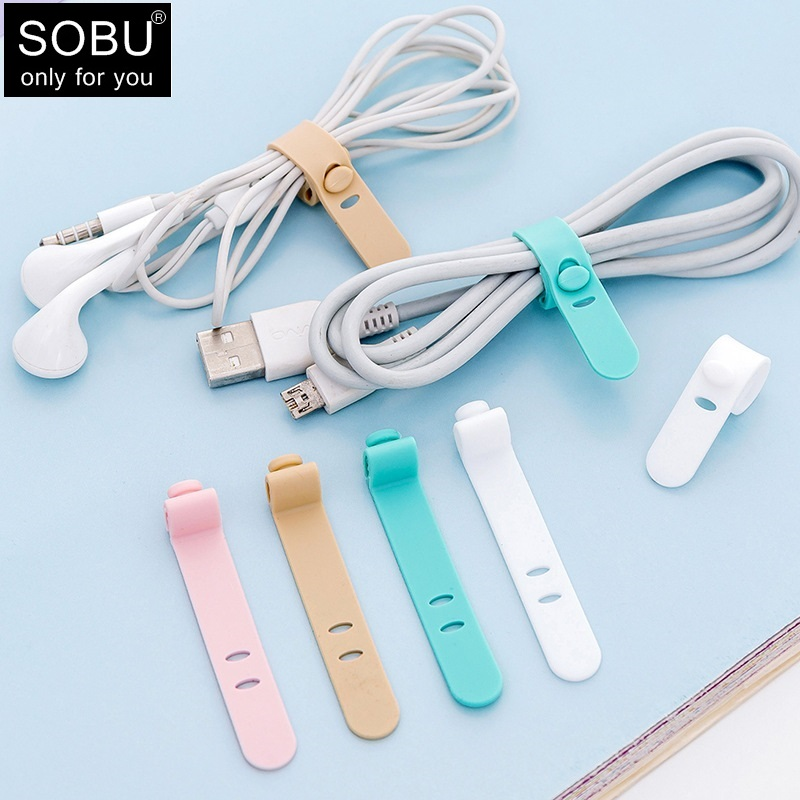 4pcs/lot Creative Travel Accessories Silica Gel Cable Winder Earphone Protector USB Phone Holder Accessory Packe Organizers H136