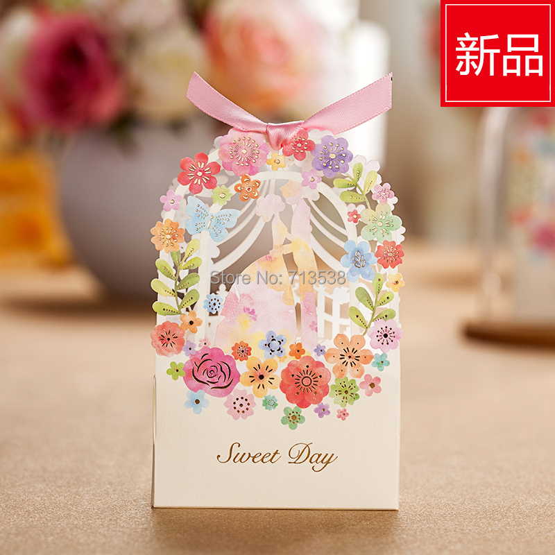 25p Bride And Groom Wedding Favor Box Flower Gift Box Wedding
