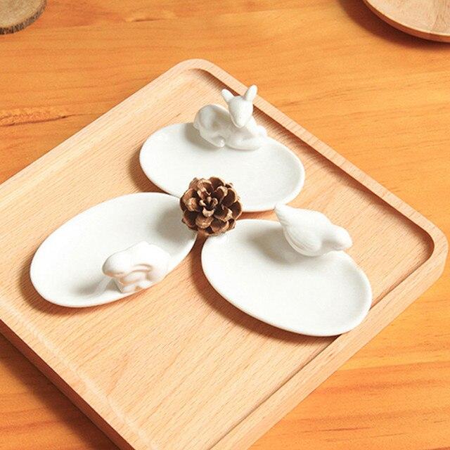 3 piezas Zakka herramientas de la cocina Mini birdie conejo deerlet platos Animal blanco puro bandeja de cerámica decoración del hogar vajilla t50