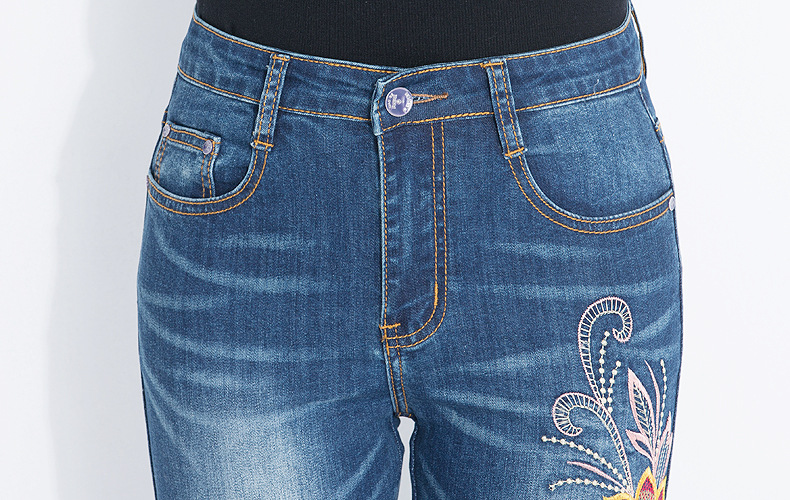 KSTUN FERZIGE Jeans Women High Waisted Pencils Pants Skinny Slim Fit Stretch Light Blue Embroidery Flowers Washed Femme Large Size 36 19