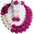 Мода костюм комплект ювелирных изделий нигерии свадебный африканские бусы комплект ювелирных изделий фиолетовый кристалл серебряный шар ABD709