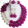 Fashion costume jewelry set nigerian wedding african beads jewelry set crystal purple silver ball ABD709