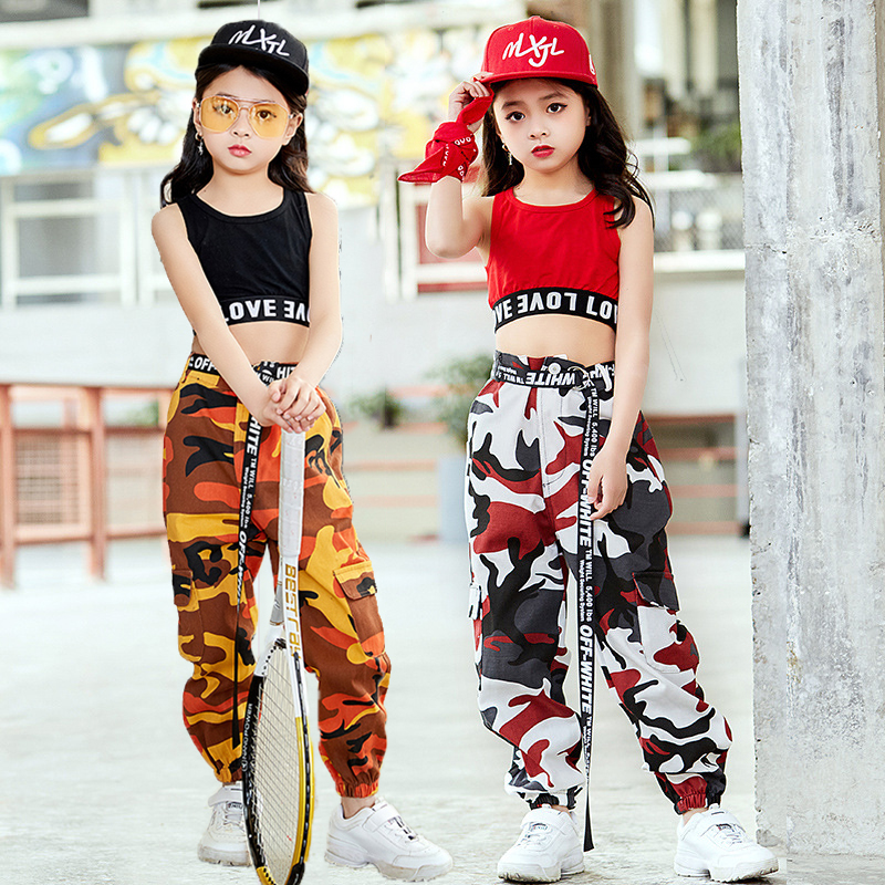 49ba68b94a1c Fashion Children Jazz Dance Costume For Girls Hip Hop Street Dancing  Costumes Vest Pants Kids Performance