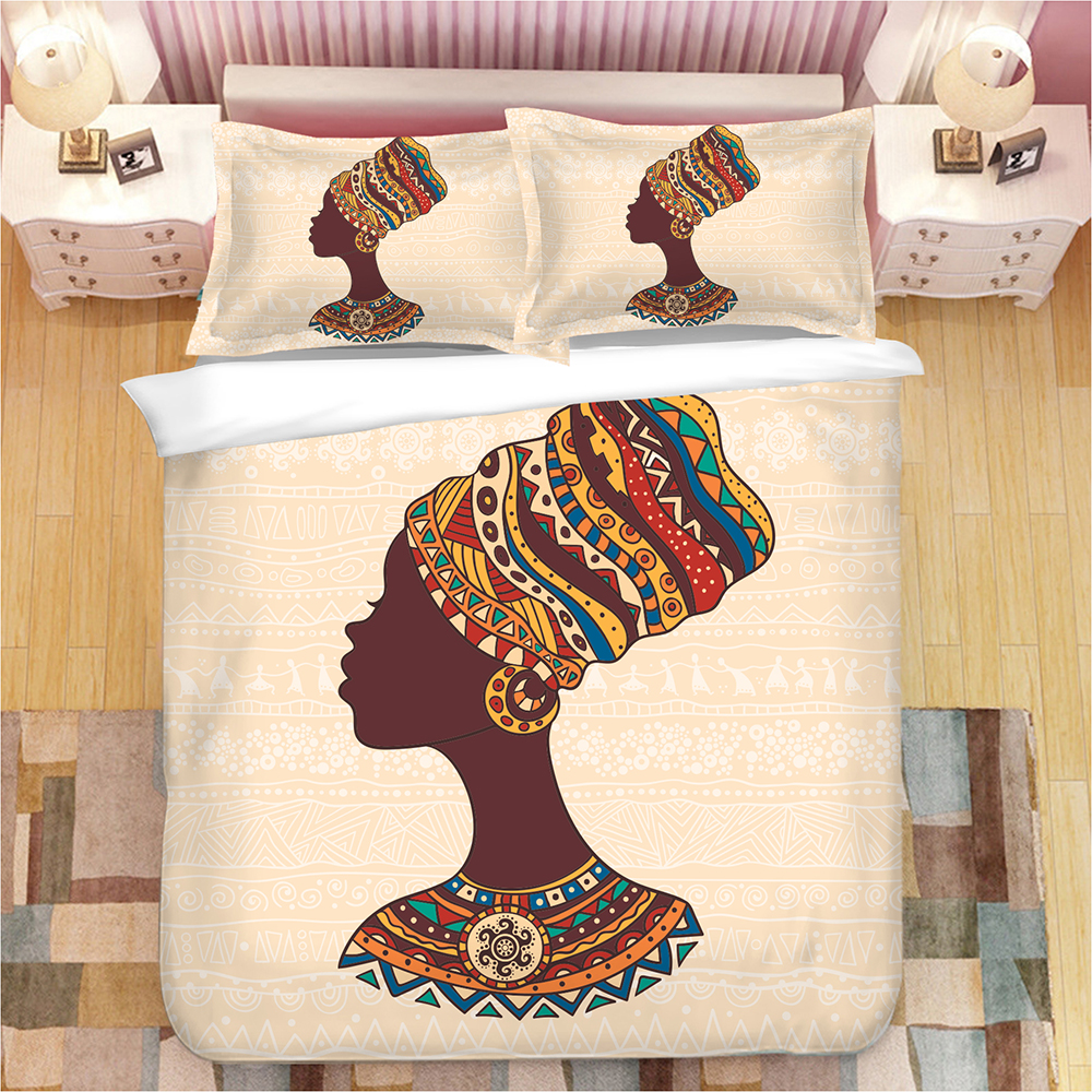 tribe National style cartoon African woman bedding set Duvet Covers Pillowcases comforter sets bedclothes bed linen