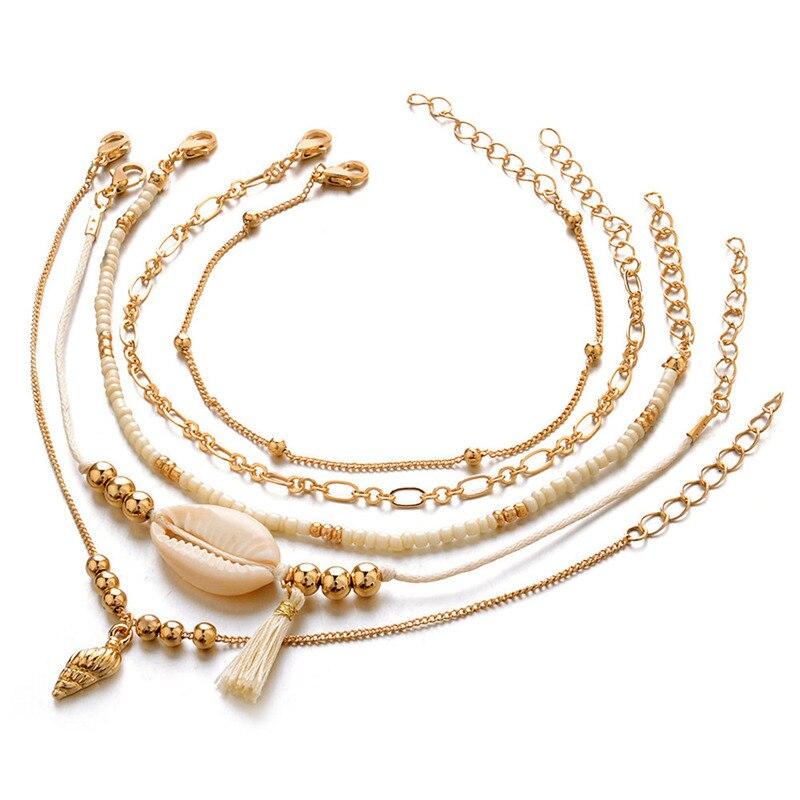 5 Teile/satz Europäischen Und Amerikanischen Stil Wind Geflochtene Shell Perlen Armband Set Frauen Shell Perlen Kette Persönlichkeit Strand Party