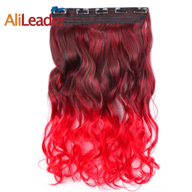 Alileader Hair Pieces Ombre Hair Clips Red Blue Natural Hair