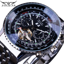 Jaragar Automatic Mechanical Fashion Men Male Watches Aviation Toubillon Silver Calendar Luxury Stainless Steel Band Wrist Watch