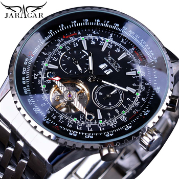Jaragar Automatic Mechanical Fashion Men Male Watches Aviation Toubillon Silver Calendar Luxury Stainless Steel Band Wrist Watch mce men s fashionable stainless steel band analog mechanical watch silver white