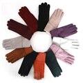 Luvas para as mulheres Luvas de pele de carneiro Nubuck Sólidos Das Mulheres De Lã Cashmere Inverno Luvas de Pele De ovelha Luvas Elegantes Luvas Mulheres Quentes