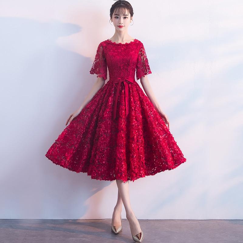 Dark สตรีสีแดงงานแต่งงานชุด O   Neck Evening Cheongsam Oriental Elegant ลูกไม้ Qipao ยาว Gowns Retro Vestido XS XXXL-ใน ชุดเดรส จาก เสื้อผ้าสตรี บน   2