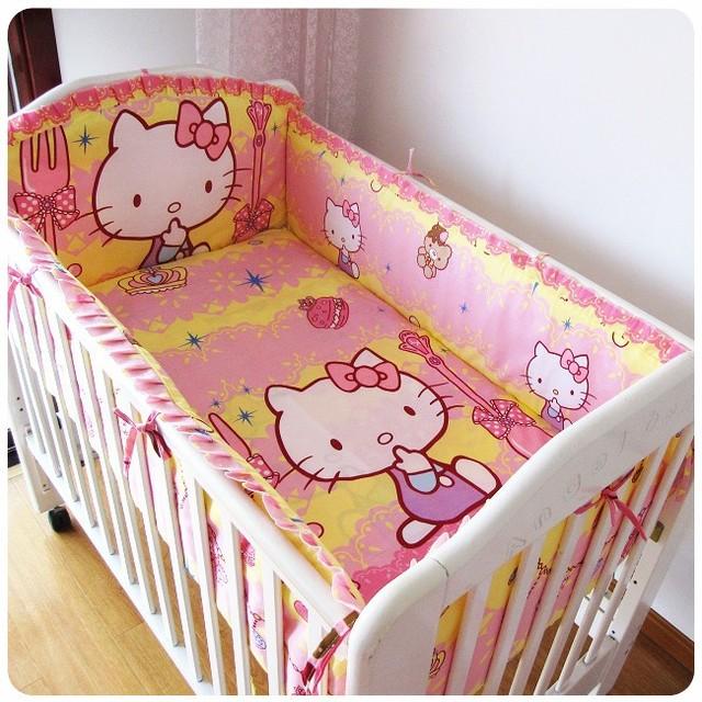 Promoción! 6 unids Hello Kitty cuna sistemas del lecho niños cuna lecho para el invierno 100% algodón ( bumpers + hojas + almohada cubre )